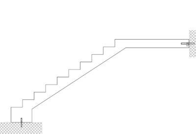 Gerade Treppen mit Podest oben