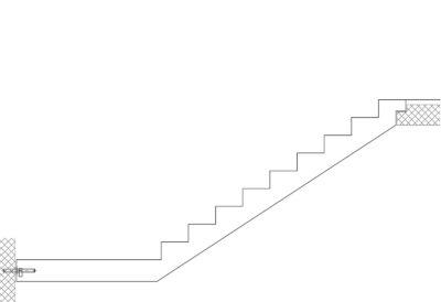 Gerade Treppe mit Podest unten