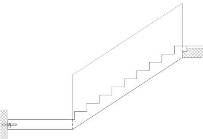 Gerade Treppen mit Podest unten und Brüstung